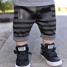 Cutest little baby legs in our charcoal stripe shorts!