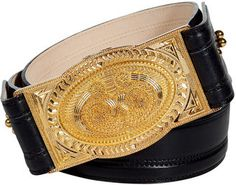 Miami Balmain Black Leather Belt with Gold Buckle