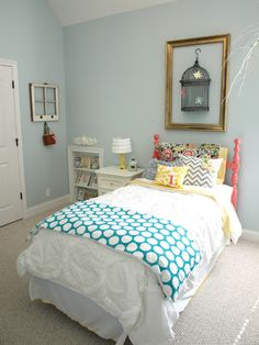 Less-Than-Perfect Life of Bliss: Spring Garden Party: A Little Girl's Room-wall paint color is Sherwin Williams Tradewind mixed at Girls Bedroom, Bedroom Decor, Bedroom Colors, Little Girl Rooms, My New Room, Room Inspiration, House Styles, Spring Garden, Bright Colors