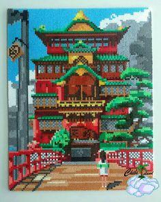 Spirited Away pagoda Diy Perler Beads, Perler Bead Art, Pearler Bead Patterns, Perler Patterns, Ghibli, Hamma Beads Ideas, Anime Pixel Art, Bead Studio, Pixel Art Templates