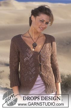 DROPS Cardigan knitted in lace pattern with Silke-Tweed.