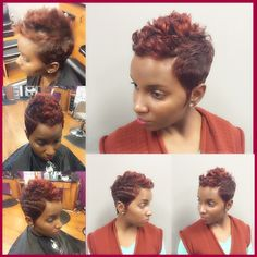 SHE TRANSFORMED, SHE ADDED A POP OF COLOR TO HER SHORT HAIR AND NOW CHECK HER OUT! BOOK WITH NAKEITHA ROSS OF 360 DEGREES HAIR STUDIO