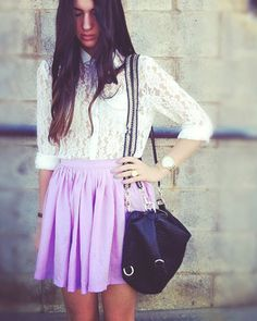 Lilac skirt & lace blouse