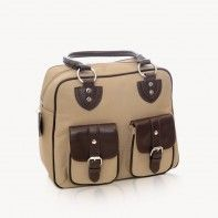 Jill-e Designs nougat nylon Everywear Gadget Bag with leather trim for tablet and camera gear