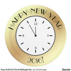 Faux Gold Foil Clock Midnight Happy New Year 9 Inch Paper Plate