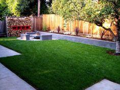 Minimalist Easy Backyard Ideas; DIY : Astonishing Easy Backyard Ideas Wooden Fence Green Grass Design Lanscaping Ideas