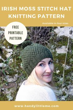 Irish Moss Stitch Hat Pattern - Make a hat with this easy and free knitting pattern by Handy Little Me that is perfect for beginners. Available in four sizes - baby, toddler, child and adult. hat for toddlers Irish Moss Stitch Hat Knitting Pattern Free Free Knitting Patterns For Women, Beginner Knitting Patterns, Knitting Machine Patterns, Knitting Ideas, Free Knitted Hat Patterns, Easy Knit Hat, Knitted Hats Kids, Knit Hats, Irish Moss
