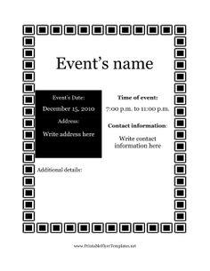 When you need a classic but understated event flyer, this leaflet is a great choice. Entirely in black and white, this event flyer has room for the date, time, and address of the event. It features a border of black and white squares, and is appropriate for either mailings or public postings. Free to download and print