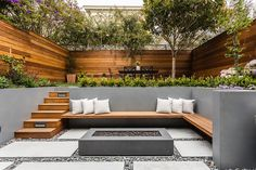 Extend your living space to the outdoor terrace and backyard with these modern patio garden and land Backyard Sitting Areas, Fire Pit Backyard, Backyard Patio, Backyard Landscaping, Backyard Ideas, Concrete Backyard, Backyard Layout, Florida Landscaping, Outdoor Patio Designs