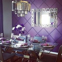 Fan Photo of the Week: mic-drop moment via regal dining room, which makes use of our grand statement decor. Shop all the Z Gallerie pieces featured via link in our bio! Living Room Colors, New Living Room, Glitter Room, Purple Mirror, Purple Bedrooms, Purple Kitchen, Dining Room Wall Decor, Dining Rooms, Room Paint