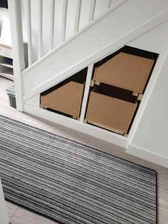 Stairway Storage, Hallway Storage, Cupboard Storage, Built In Storage, Hallway Cupboards, Diy Cupboards, Under Stairs Cupboard, Staircase Banister Ideas, Entry Stairs