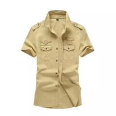Cheap casual shirts for men, Buy Quality business shirt men directly from China designer shirts men Suppliers: Army Shirt Men 2017 Short Sleeve Blouse Cotton Military Epaulet Chest Pockets Design Slim Fit Business Casual Shirts for Men Casual Shirts For Men, Men Casual, Cargo Shirts, Shorts With Pockets, Shirt Style, Military, Army Men, Mens Tops, Sleeve