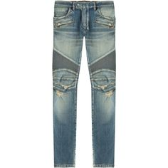 Balmain Distressed Skinny Biker Jeans ($1,490) ❤ liked on Polyvore featuring men's fashion, men's clothing, men's jeans and blue