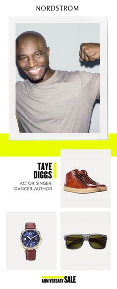 What's Taye Diggs into at this year's Anniversary Sale? He's stocking up on the latest accessories – retro-inspired sunglasses, a bold blue dial watch and high-top leather sneakers. Get inspired and shop his picks, July 21 – August 6.