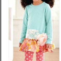 Peaches 'N Cream Mint and Pink with Flower from Freckles Children's Boutique for $64.00