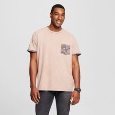 Men's Big & Tall Crew Neck Fashion Rolled Sleeve T-Shirt with Pocket