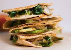 Crispy mushroom, spinach, and avocado quesadillas.