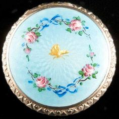 Vintage Handpainted Roses Enamel Engraved Butterfly Silver Tone Compact w Mirror | eBay