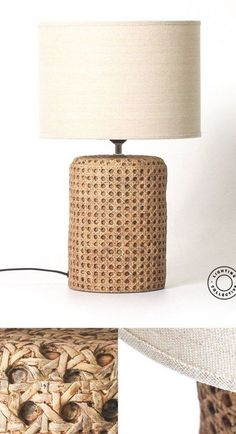 This open weave cane bedside table lamp is perfect for interiors after an organic look. The beautifully woven base brings texture and warmth and is crafted from Concrete to replicate an elegant cane weave. Shop Lighting Collective >