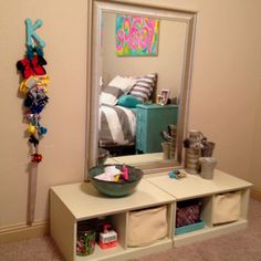 Ikea / Pinterest inspired Tween hair / makeup station. Keep the clutter out of the bathroom :) www.befreetees.com