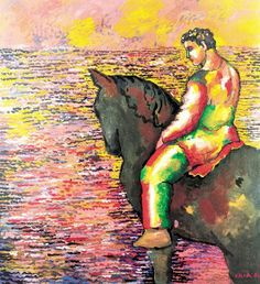 Sandro Chia. Horseman in Front of the Sea (1986). Acrylic on Canvas. Chazen Museum of Art.