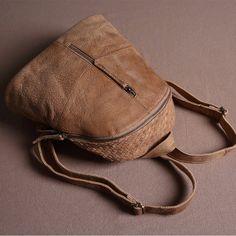 Genuine Leather School Backpack Casual Rucksack Travel Backpack Daily Bag 14087 - LISABAG - 2