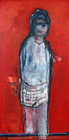 Marga Klumper. Girl in Red Gelaagd vrij werk in olieverf. Uit de vrouwen/meisjes serie.