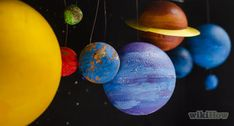 How to Make a Solar System Model. There are eight known planets orbiting our sun, including Earth. Making a model is a fun introduction to this solar system, and a good art project for primary school science classes. Solar System Model Project, Make A Solar System, Solar System Mobile, Solar System Projects, Painting Styrofoam, Solar System Pictures, Planet Order, White Paint Pen, Mockup