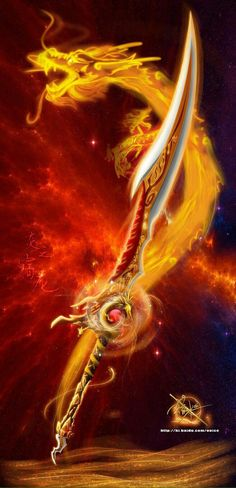 sword that can sumon a fire dragon (spirit) can be recognized by it large fire crystal and red crystals Dragon Sword, Fire Dragon, Dragon Art, Ninja Weapons, Anime Weapons, Fantasy Sword, Fantasy Armor, Magic Sword, Espada Anime