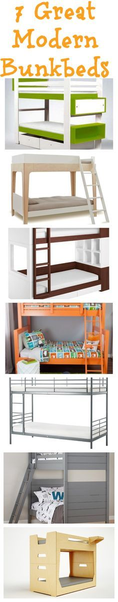 Seven great modern bunk beds for your kids room. Space saving, fun designs.