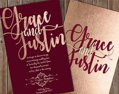 Burgundy and Blush Wedding Invitations, Burgundy Wedding Invitation, Burgundy and Rose Gold Wedding Invitation, Rose Gold Wedding Invitation