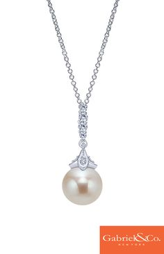 You can never go with wrong with classic pearls on your wedding day! This stunning 14k white gold diamond pearl necklace from Gabriel & Co. will be the perfect addition to any wedding dress. Find this gorgeous necklace on our website.
