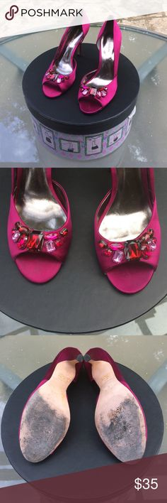 """👠 Ann Taylor - Embellished Magenta Pumps Sz. 9.5M Absolutely stunning """"Ann Taylor"""" Magenta-Colored, Open-Toed Pumps in Misses Size 9.5 Medium. Embellished with beautiful rhinestones! Feel like a Queen wearing these beauties... Fabric Upper, Leather Soles. Heel height is approx. 3.5 inches. In good, pre-owned condition. Small nick on bottom of left heel not noticeable when wearing shoes. Great price! Thank you for visiting and shopping in my closet. I 💖 my Posher Pals! Ann Taylor Shoes…"""
