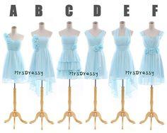 Pastel Colored Short Blue Chiffon Bridesmaid Dress, Mismatch Bridesmaid Dresses, Prom Dress, Party Dress MD077