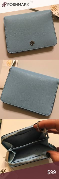 Tory Burch Riviera Blue Zip Around Key/Coin Case So pretty with room for cards, coins, and a key ring! Perfect, new with tags. NO TRADES. No Lowball Offers PLEASE. Tory Burch Accessories Key & Card Holders