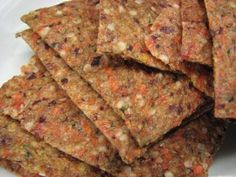 Raw Cracker with carrot and beetroot    2 carrots  1 little beetroot  1 little red onion  1 bunch parsley  2 tbspoon hempseed  2 cups yellow flaxseed  salt    Preparation:  Put the vegetables into the food processor and cut until they're granular. Grind the flax seed and mix it with some water so that its consistence is like that of dough. Mix with the vegetables and hempseed, flavour with salt and mix it well once more.    Dehydrate