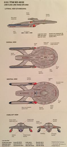 Original diagram of the USS Titan NCC - 80102 by Titan Design Contest winner Sean Tourangeau, 2007.