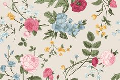 Vector vintage floral pattern. Set. by olga.korneeva on Creative Market