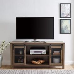 Walker Edison Furniture Company 58 in. Dark Walnut Sliding Mesh Door Industrial TV Stand - The Home Depot Dark Wood Tv Stand, Walnut Tv Stand, Industrial Tv Stand, Urban Industrial, Modern Farmhouse Design, Rustic Modern, Dining Room Server, Tv Stand With Storage, Home Entertainment Centers