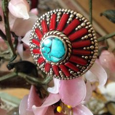 Vintage coral turquoise ring Amazing inlay turquoise in center and all around red coral 800 silver Vintage Jewelry Rings