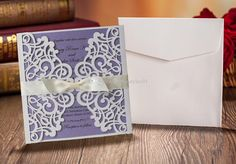 elegant mexican wedding invitations   50 pcs Elegant Lace Party Invitation Card White and Purple Wedding ...