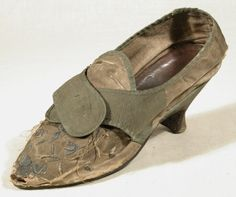 Shoe  Category  Costume Date  1770 - 1780 Materials  Leather, Linen, Satin, Silk, Taffeta Order this image Collection  Snowshill Wade Costume Collection, Gloucestershire (Accredited Museum) On show at  Not on show  NT 1348821.1