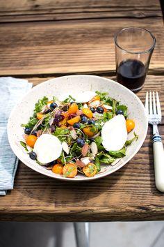 Summer salad with fresh blueberries, warm Mozzarella, and a Maple Cinnamon Dressing | Flourishing Foodie