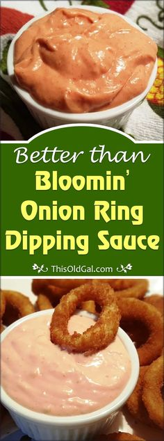 Better than Bloomin' Onion Ring Dipping Sauce Recipe Homemade Bloomin' Onion Ring Dipping Sauce Recipe goes great with Fries, Onion Rings, Hamburgers and even on Chicken Sandwiches. via This Old Gal Onion Ring Dipping Sauce Recipe, Dipping Sauces For Chicken, Onion Rings Recipe, Burger King Onion Ring Sauce Recipe, Zesty Sauce Burger King, Chicken Marinades, Homemade Onion Rings, Homemade Sauce, Homemade Seasonings