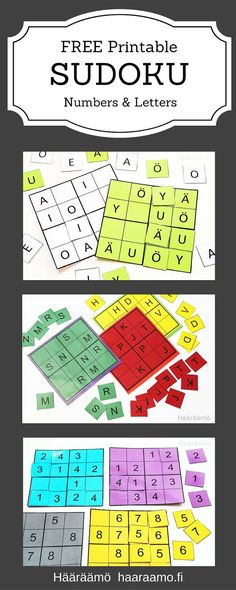 Sudoku di lettere e numeri - FREE Printable Sudoku Puzzle. Fun Math, Math Games, Math Activities, Sudoku Puzzles, Puzzles For Kids, Early Childhood Education, Brain Teasers, Critical Thinking, Math Lessons