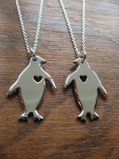 Two Silver Penguins with Hearts Pendant by GorjessJewellery
