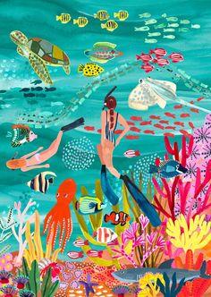 Fish Drawings, Doodle Drawings, Under The Sea Drawings, Underwater Art, Sea Art, Landscape Illustration, Art Prints, Pastel, Artwork