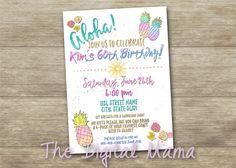 Aloha Birthday Party Invitation - Hawaiian Luau Party - Pineapple Luau Invitation - 5x7/4x6 Birthday Party Invitation - Digital Download by TheDigitalMama on Etsy