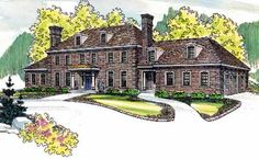 English Country Style House Plans - 6234 Square Foot Home , 3 Story, 6 Bedroom and 6 Bath, 3 Garage Stalls by Monster House Plans - Plan 17-489
