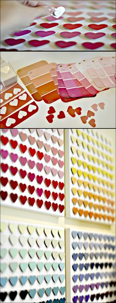 Paint chip hearts. From http://wtfcupcakes.tumblr.com/post/23065526610/or-doesitexplode-ticktockclock